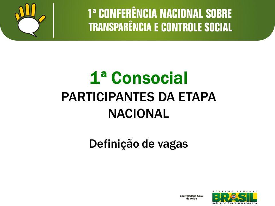 1ª Consocial PARTICIPANTES DA ETAPA NACIONAL Definição de vagas
