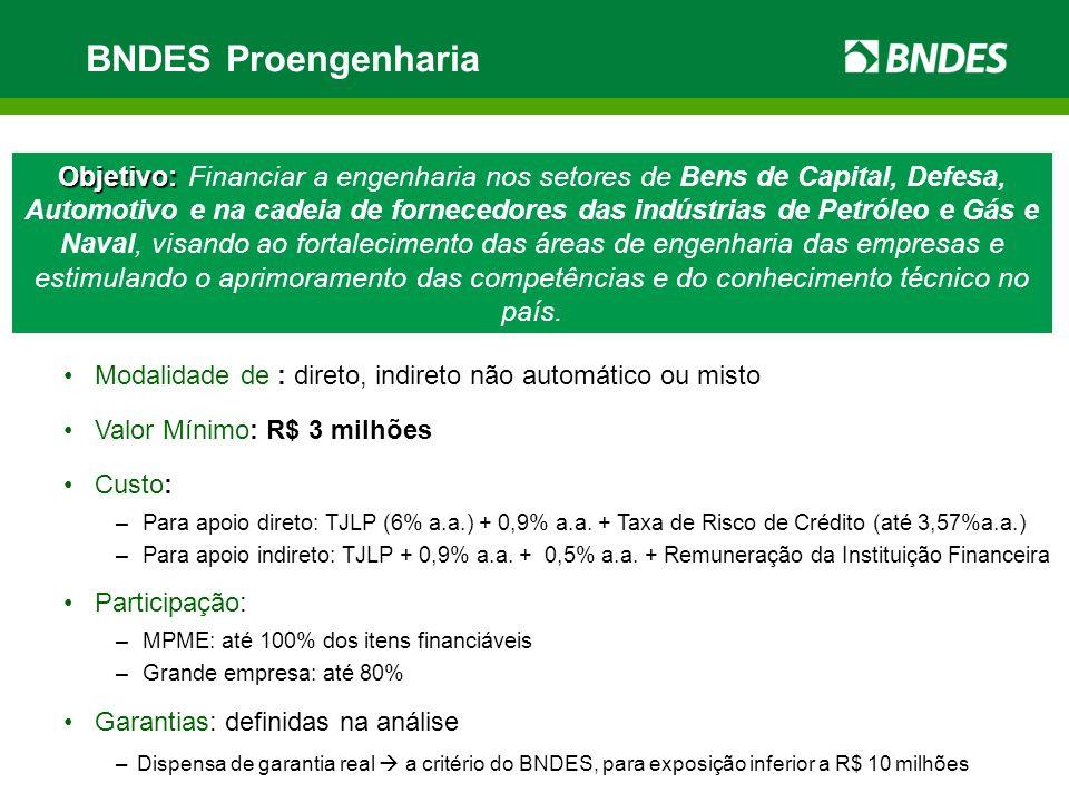 BNDES Proengenharia Objetivo: Objetivo: Financiar a engenharia nos setores de Bens de Capital, Defesa, Automotivo e na cadeia de fornecedores das indú