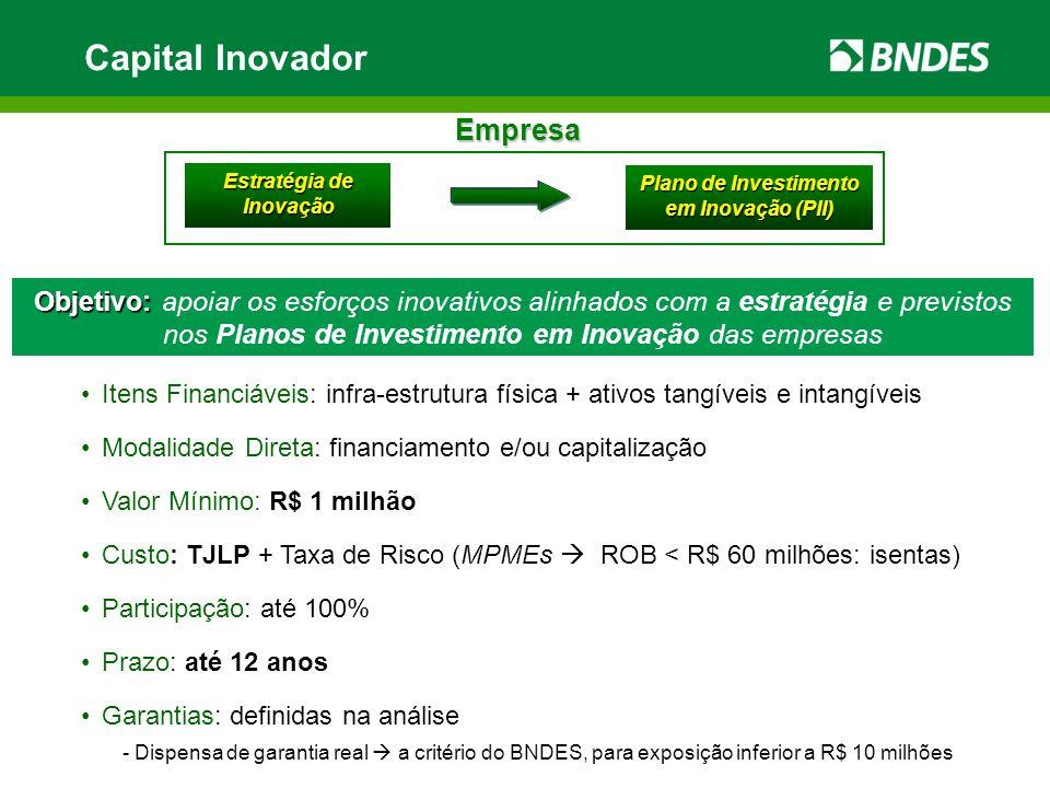 Capital Inovador Itens Financiáveis: infra-estrutura física + ativos tangíveis e intangíveis Modalidade Direta: financiamento e/ou capitalização Valor