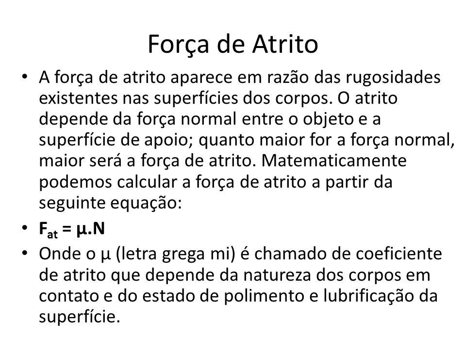 Força de Atrito A força de atrito aparece em razão das rugosidades existentes nas superfícies dos corpos. O atrito depende da força normal entre o obj