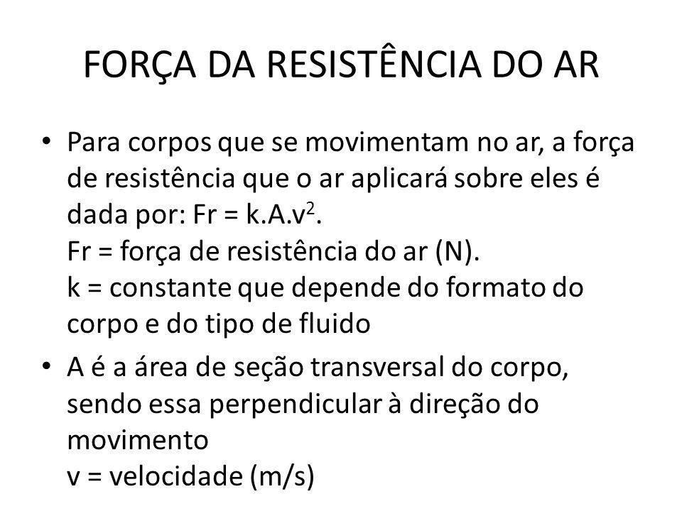 FORÇA DA RESISTÊNCIA DO AR Para corpos que se movimentam no ar, a força de resistência que o ar aplicará sobre eles é dada por: Fr = k.A.v 2. Fr = for
