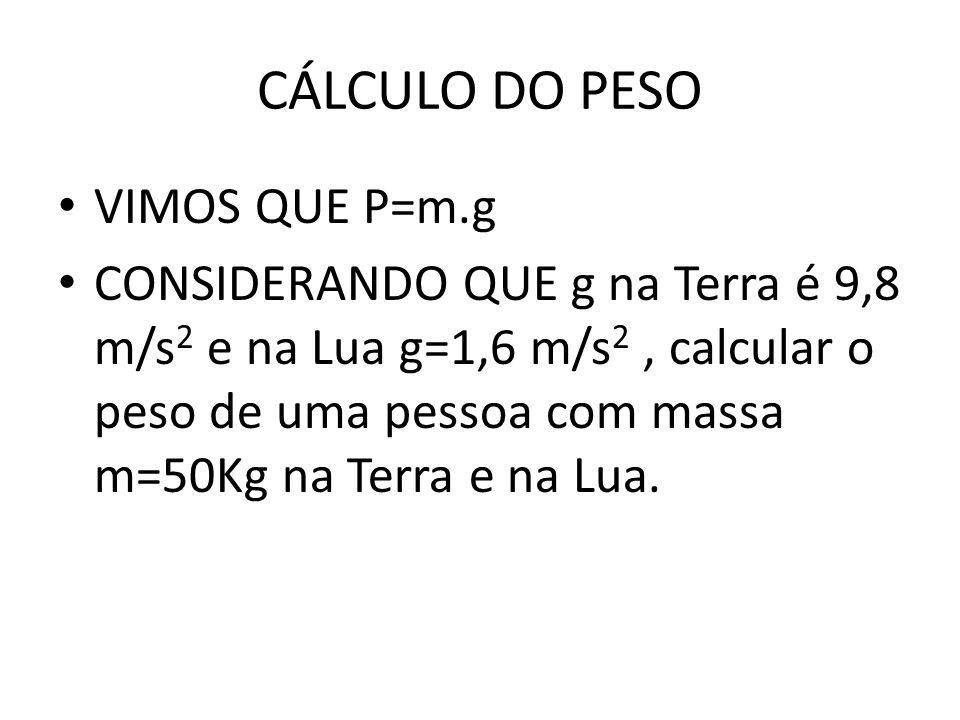 CÁLCULO DO PESO VIMOS QUE P=m.g CONSIDERANDO QUE g na Terra é 9,8 m/s 2 e na Lua g=1,6 m/s 2, calcular o peso de uma pessoa com massa m=50Kg na Terra