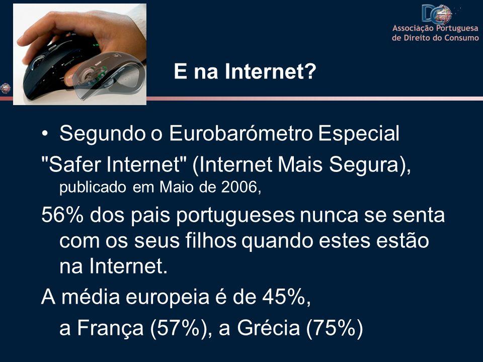 E na Internet? Segundo o Eurobarómetro Especial