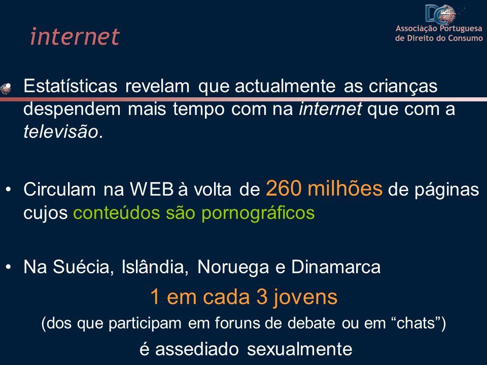 internet Estatísticas revelam que actualmente as crianças despendem mais tempo com na internet que com a televisão. Circulam na WEB à volta de 260 mil