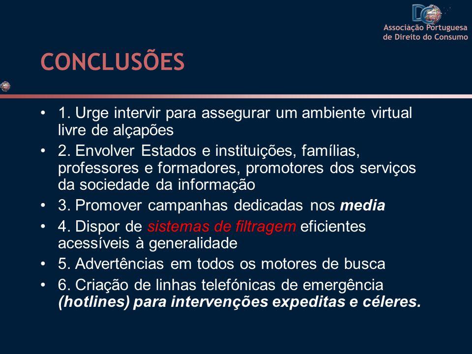 CONCLUSÕES 1. Urge intervir para assegurar um ambiente virtual livre de alçapões 2. Envolver Estados e instituições, famílias, professores e formadore