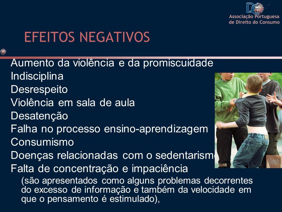 EFEITOS NEGATIVOS Aumento da violência e da promiscuidade Indisciplina Desrespeito Violência em sala de aula Desatenção Falha no processo ensino-apren