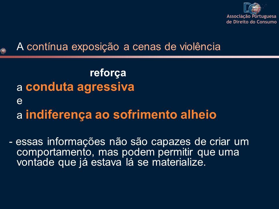 A contínua exposição a cenas de violência reforça a conduta agressiva e a indiferença ao sofrimento alheio - essas informações não são capazes de cria