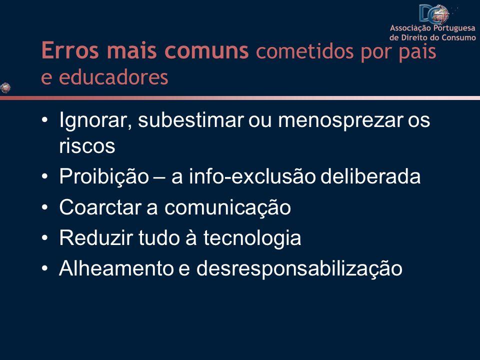 Erros mais comuns cometidos por pais e educadores Ignorar, subestimar ou menosprezar os riscos Proibição – a info-exclusão deliberada Coarctar a comun
