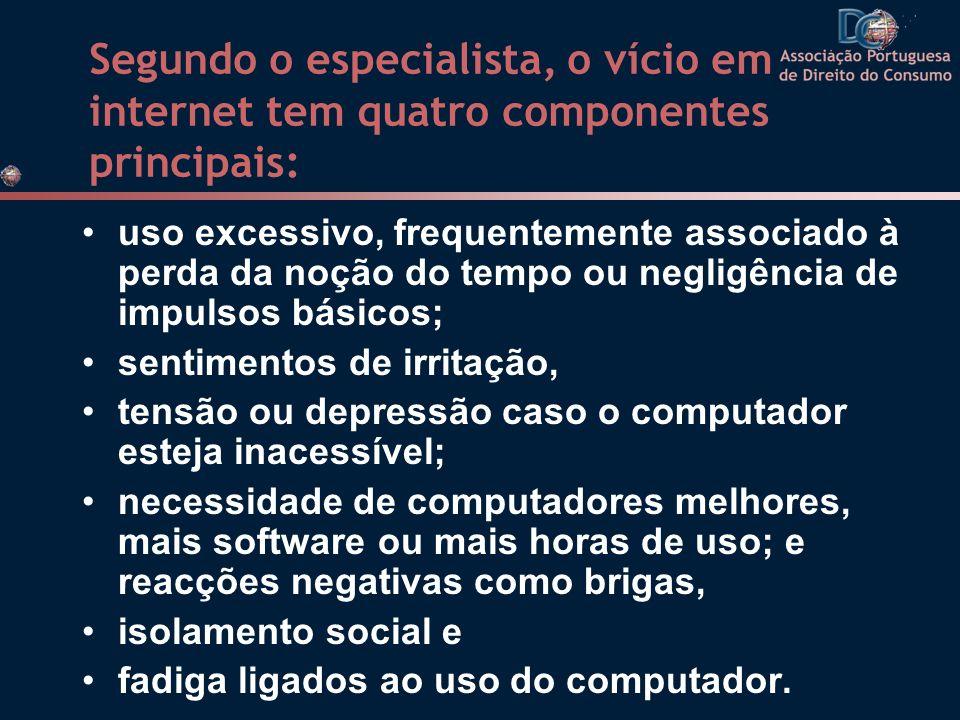 Segundo o especialista, o vício em internet tem quatro componentes principais: uso excessivo, frequentemente associado à perda da noção do tempo ou ne