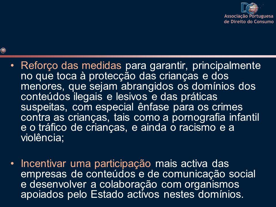 Os Estados-Membros e a Comissão incentivarão: … A redacção de códigos de conduta em matéria de protecção dos menores e da dignidade humana.