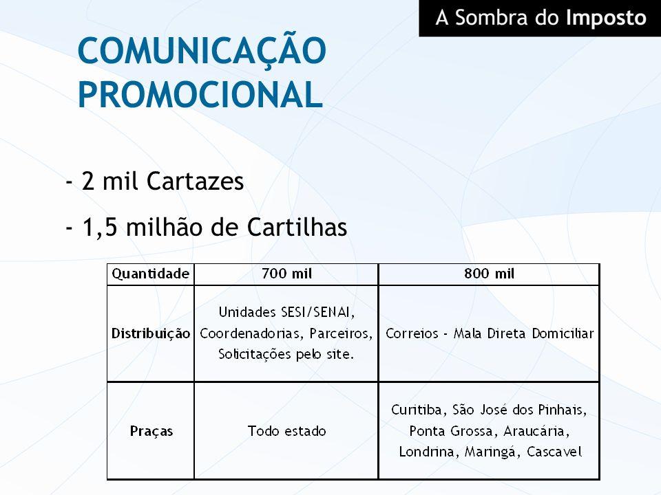 - 2 mil Cartazes - 1,5 milhão de Cartilhas COMUNICAÇÃO PROMOCIONAL