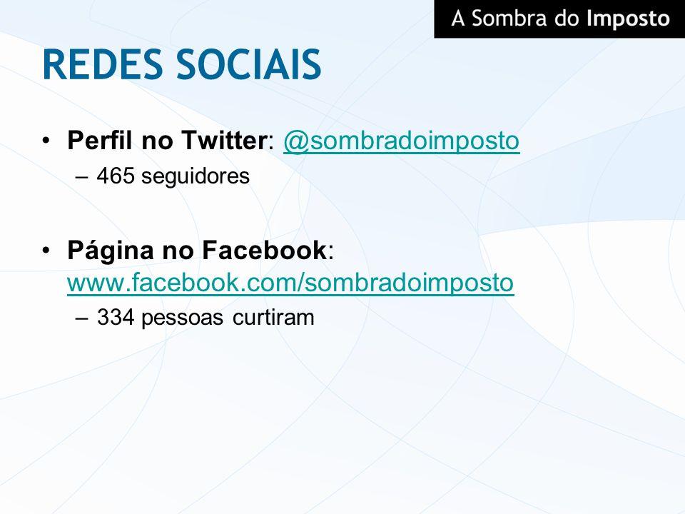 REDES SOCIAIS Perfil no Twitter: @sombradoimposto@sombradoimposto –465 seguidores Página no Facebook: www.facebook.com/sombradoimposto www.facebook.co