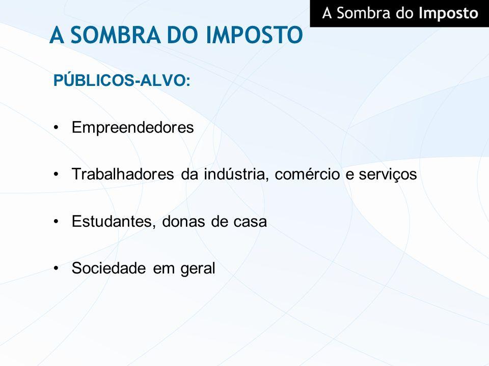 A SOMBRA DO IMPOSTO PÚBLICOS-ALVO: Empreendedores Trabalhadores da indústria, comércio e serviços Estudantes, donas de casa Sociedade em geral