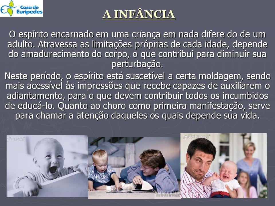 A INFÂNCIA O espírito encarnado em uma criança em nada difere do de um adulto. Atravessa as limitações próprias de cada idade, depende do amadurecimen