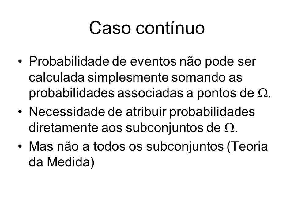 Caso contínuo Probabilidade de eventos não pode ser calculada simplesmente somando as probabilidades associadas a pontos de Necessidade de atribuir pr