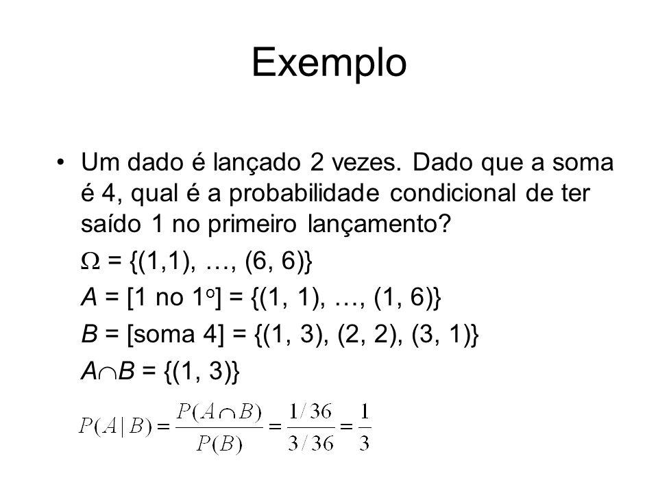 Exemplo Um dado é lançado 2 vezes. Dado que a soma é 4, qual é a probabilidade condicional de ter saído 1 no primeiro lançamento? = {(1,1), …, (6, 6)}