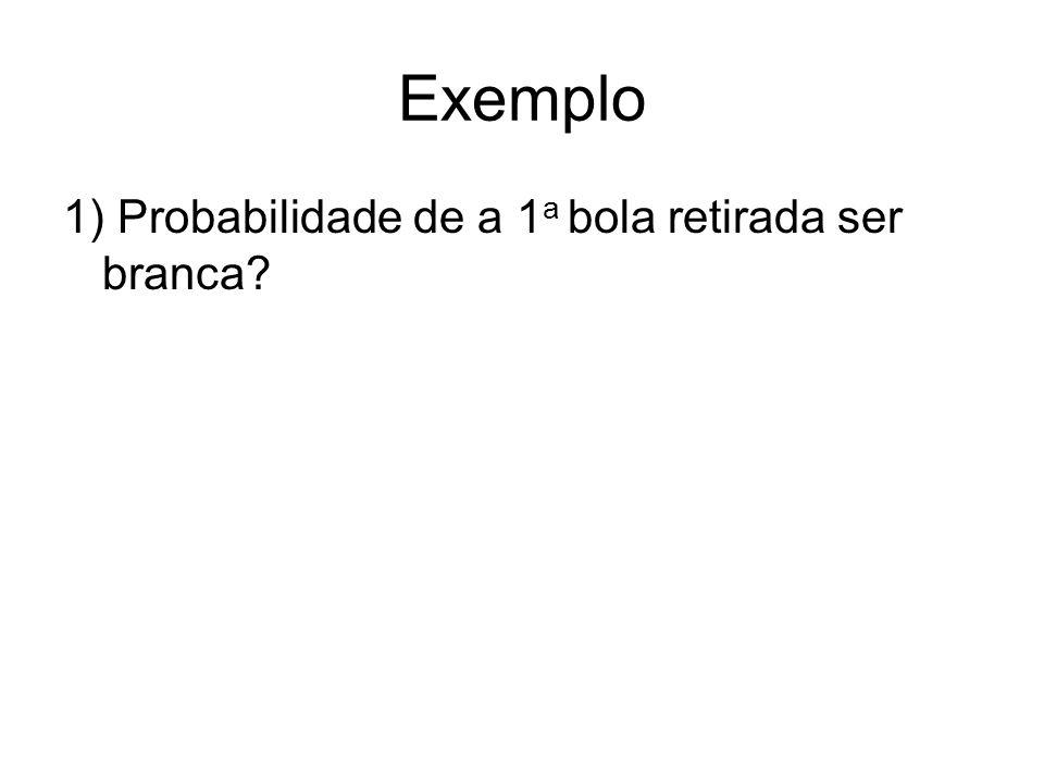 Exemplo 1) Probabilidade de a 1 a bola retirada ser branca?