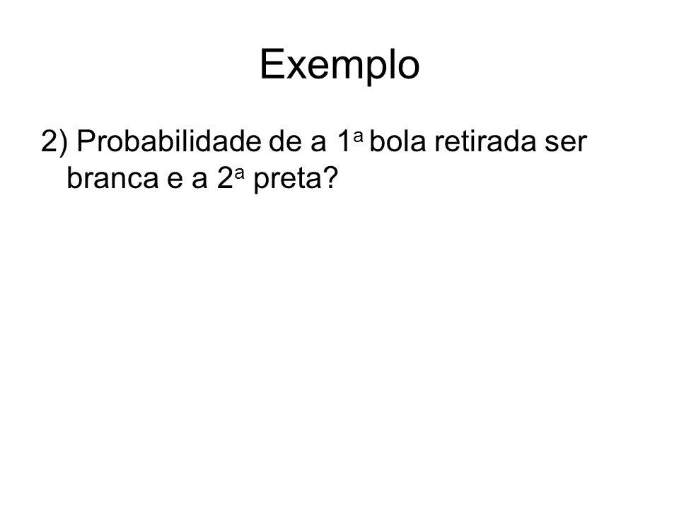 Exemplo 2) Probabilidade de a 1 a bola retirada ser branca e a 2 a preta?