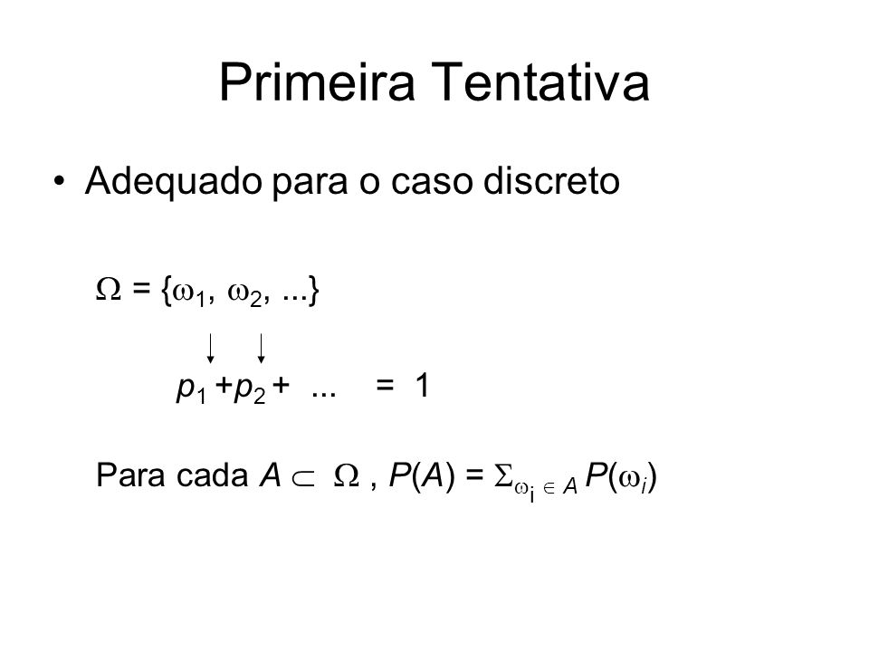 Primeira Tentativa Adequado para o caso discreto = { 1, 2,...} p 1 +p 2 +... = 1 Para cada A, P(A) = i A P( i )