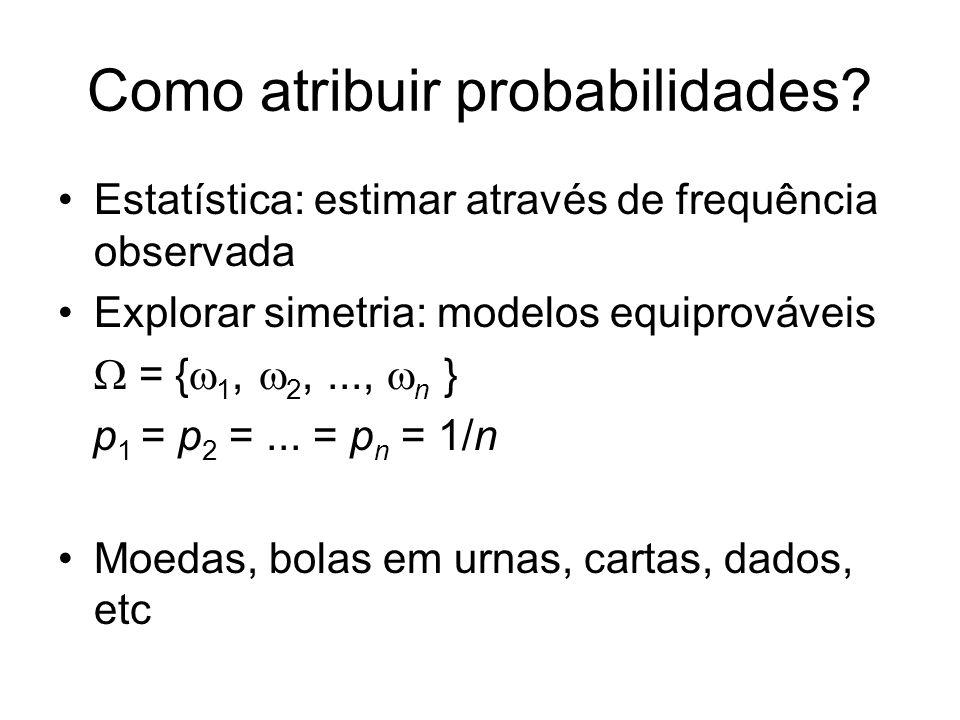 Como atribuir probabilidades? Estatística: estimar através de frequência observada Explorar simetria: modelos equiprováveis = { 1, 2,..., n } p 1 = p