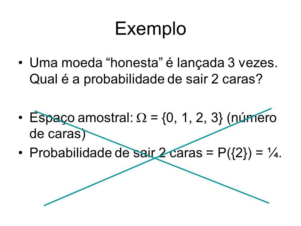 Exemplo Uma moeda honesta é lançada 3 vezes. Qual é a probabilidade de sair 2 caras? Espaço amostral: = {0, 1, 2, 3} (número de caras) Probabilidade d