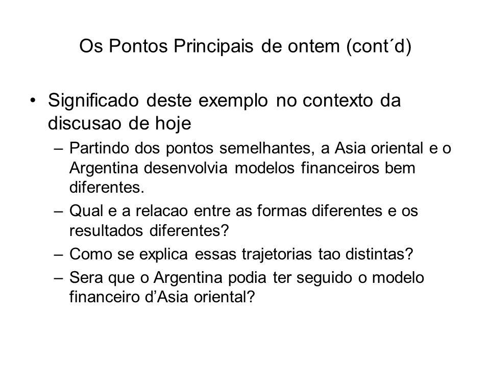 Os Pontos Principais de ontem (cont´d) Significado deste exemplo no contexto da discusao de hoje –Partindo dos pontos semelhantes, a Asia oriental e o Argentina desenvolvia modelos financeiros bem diferentes.