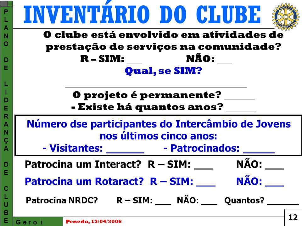 INVENTÁRIO DO CLUBE G e r o i PLANODELIDERANÇADECLUBEPLANODELIDERANÇADECLUBE Penedo, 13/04/2006 O clube está envolvido em atividades de prestação de serviços na comunidade.