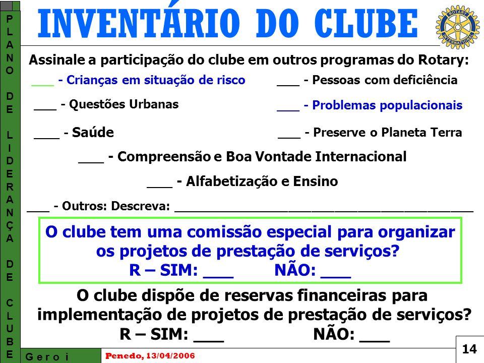 INVENTÁRIO DO CLUBE G e r o i PLANODELIDERANÇADECLUBEPLANODELIDERANÇADECLUBE Penedo, 13/04/2006 O clube tem uma comissão especial para organizar os projetos de prestação de serviços.