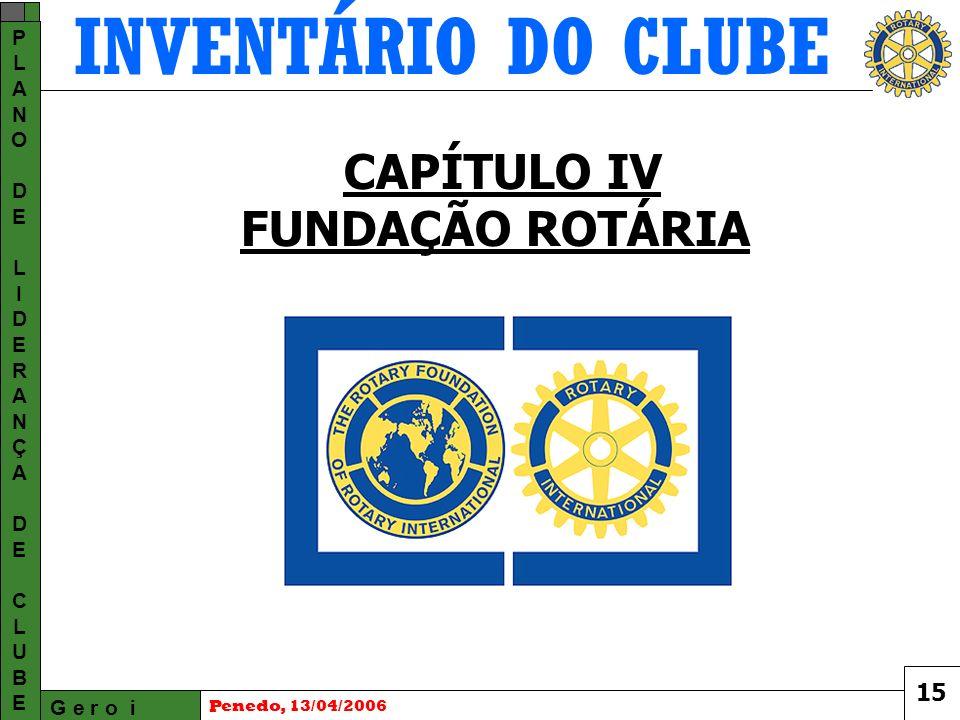 INVENTÁRIO DO CLUBE G e r o i PLANODELIDERANÇADECLUBEPLANODELIDERANÇADECLUBE Penedo, 13/04/2006 CAPÍTULO IV FUNDAÇÃO ROTÁRIA 15
