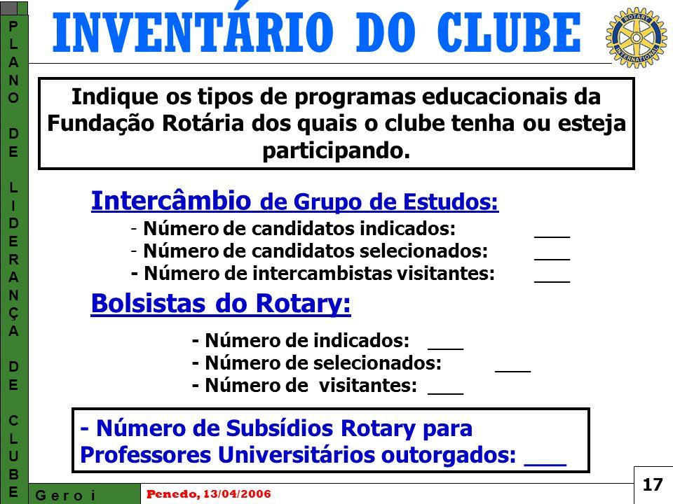 INVENTÁRIO DO CLUBE G e r o i PLANODELIDERANÇADECLUBEPLANODELIDERANÇADECLUBE Penedo, 13/04/2006 - Número de indicados: ___ - Número de selecionados: ___ - Número de visitantes: ___ Indique os tipos de programas educacionais da Fundação Rotária dos quais o clube tenha ou esteja participando.