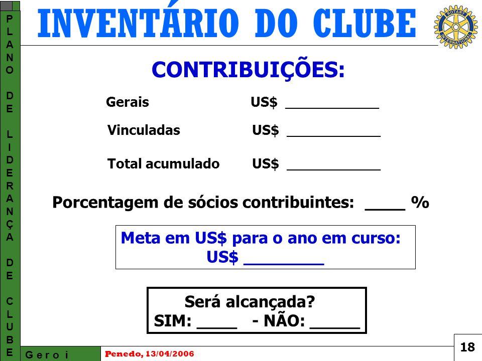 INVENTÁRIO DO CLUBE G e r o i PLANODELIDERANÇADECLUBEPLANODELIDERANÇADECLUBE Penedo, 13/04/2006 Será alcançada.