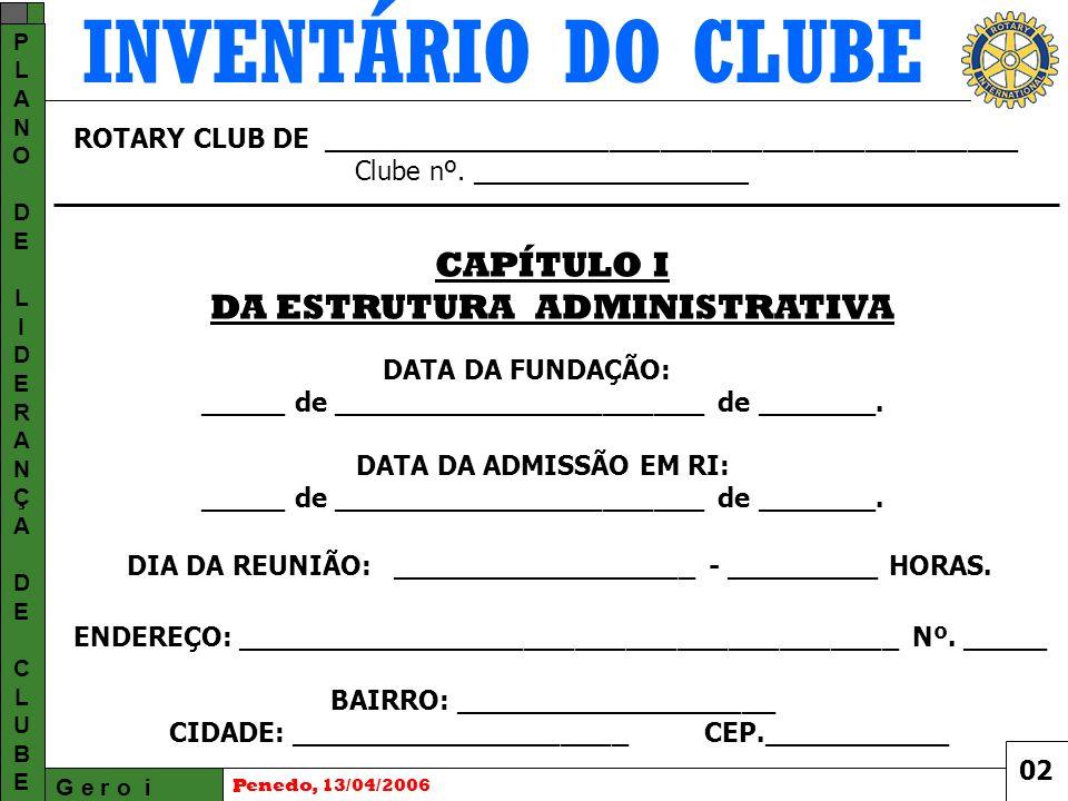 INVENTÁRIO DO CLUBE G e r o i PLANODELIDERANÇADECLUBEPLANODELIDERANÇADECLUBE Penedo, 13/04/2006 ROTARY CLUB DE _________________________________________ Clube nº.