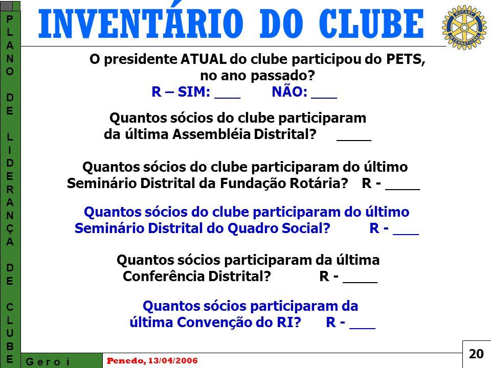 INVENTÁRIO DO CLUBE G e r o i PLANODELIDERANÇADECLUBEPLANODELIDERANÇADECLUBE Penedo, 13/04/2006 O presidente ATUAL do clube participou do PETS, no ano passado.