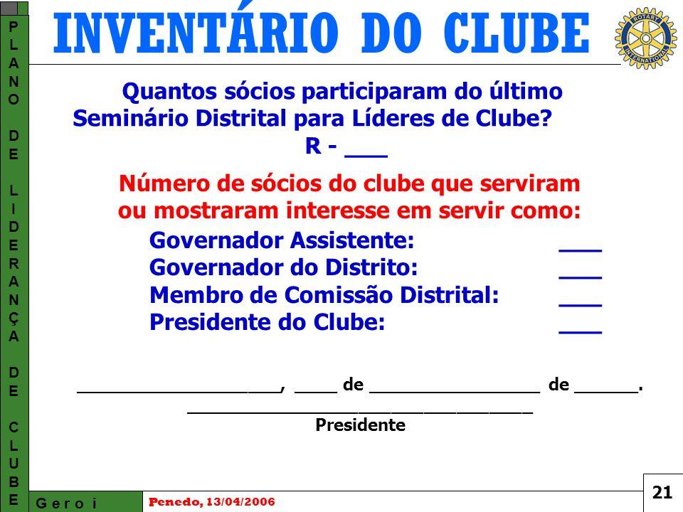INVENTÁRIO DO CLUBE G e r o i PLANODELIDERANÇADECLUBEPLANODELIDERANÇADECLUBE Penedo, 13/04/2006 21 Quantos sócios participaram do último Seminário Distrital para Líderes de Clube.