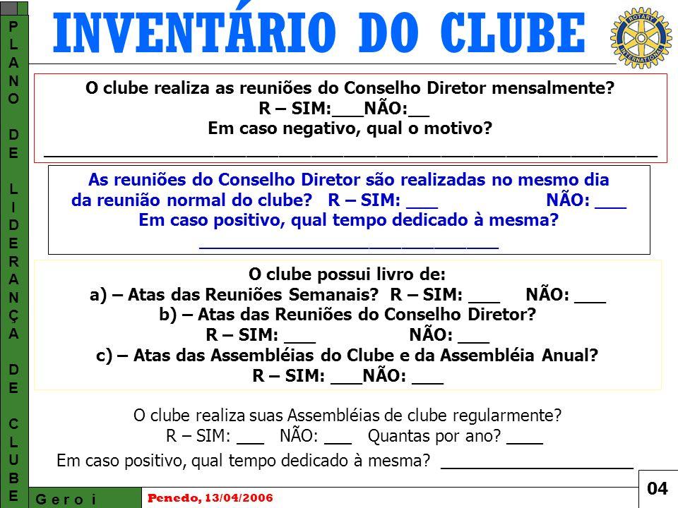 INVENTÁRIO DO CLUBE G e r o i PLANODELIDERANÇADECLUBEPLANODELIDERANÇADECLUBE Penedo, 13/04/2006 O clube realiza as reuniões do Conselho Diretor mensalmente.