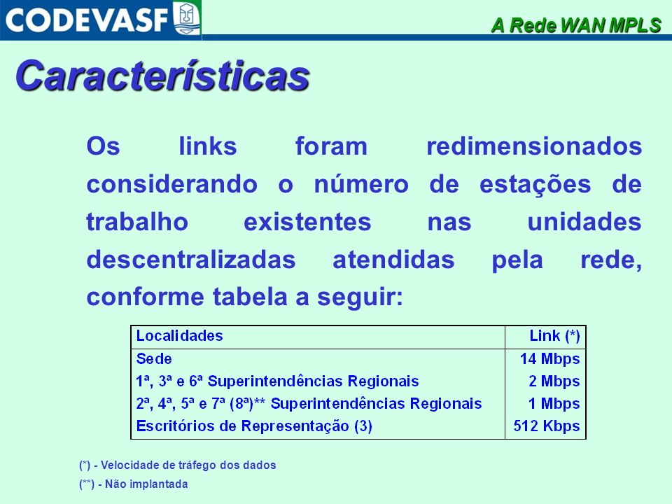Características Os links foram redimensionados considerando o número de estações de trabalho existentes nas unidades descentralizadas atendidas pela r