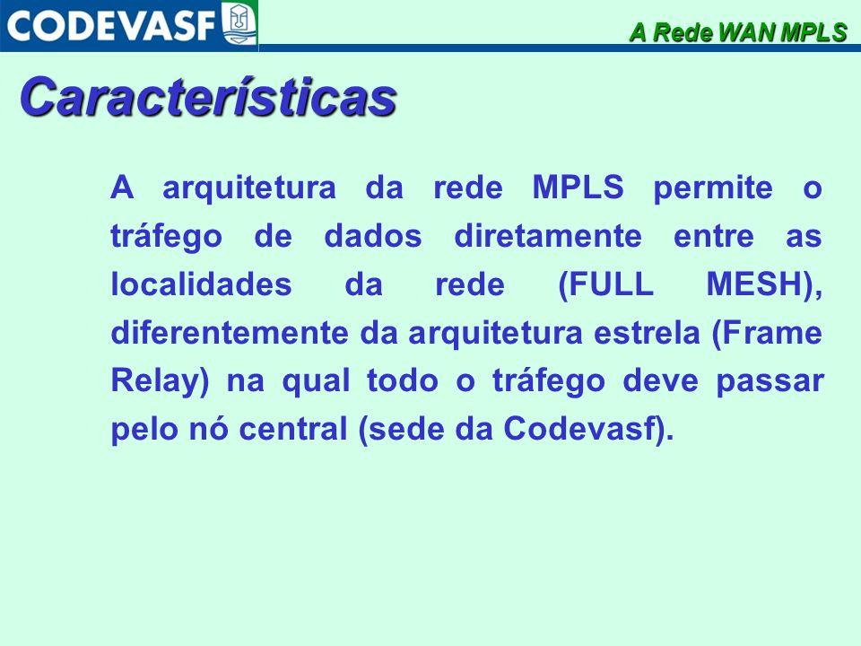 Características A arquitetura da rede MPLS permite o tráfego de dados diretamente entre as localidades da rede (FULL MESH), diferentemente da arquitet