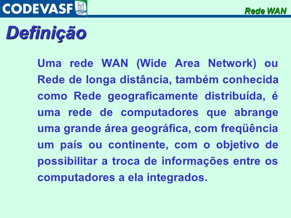 Definição Uma rede WAN (Wide Area Network) ou Rede de longa distância, também conhecida como Rede geograficamente distribuída, é uma rede de computado