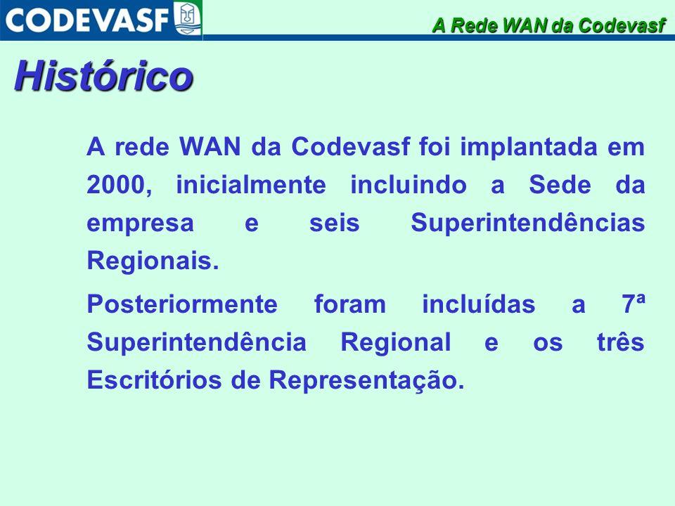 Histórico A rede WAN da Codevasf foi implantada em 2000, inicialmente incluindo a Sede da empresa e seis Superintendências Regionais. Posteriormente f