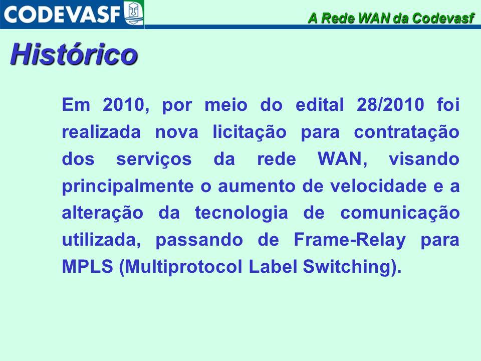 Histórico Em 2010, por meio do edital 28/2010 foi realizada nova licitação para contratação dos serviços da rede WAN, visando principalmente o aumento