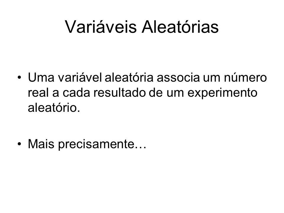 Variáveis Aleatórias Uma variável aleatória é uma função (mensurável) X: R que associa um número real a cada resultado de um experimento aleatório.