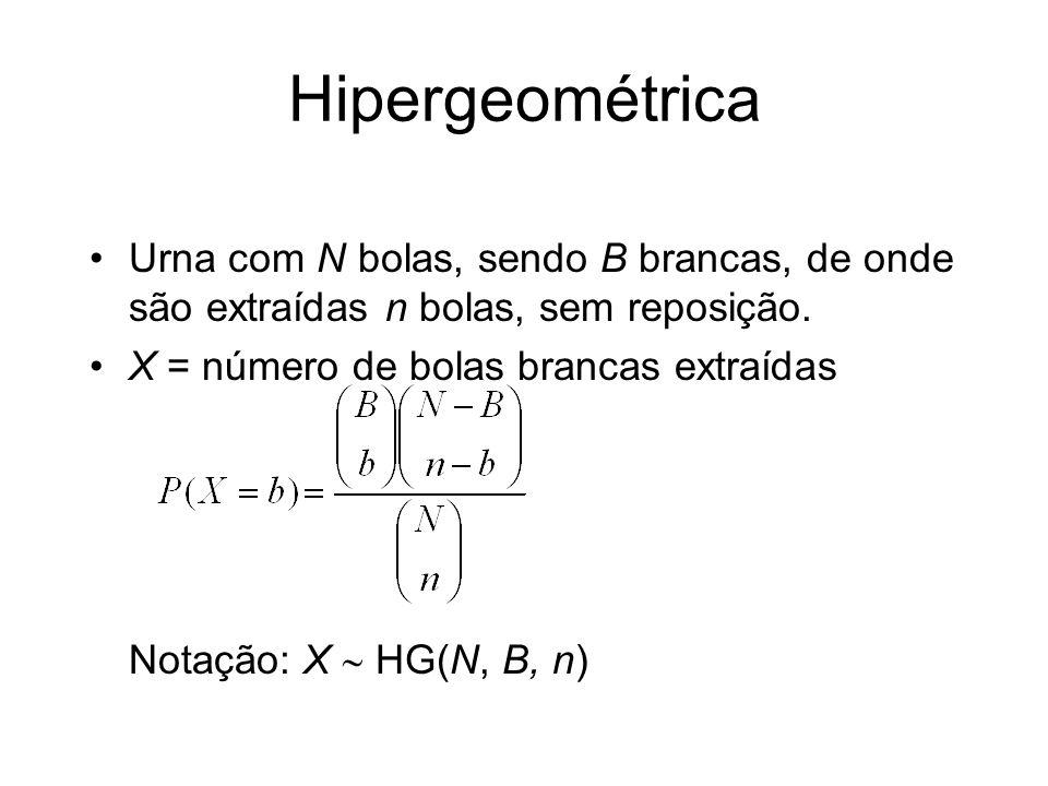 Hipergeométrica Urna com N bolas, sendo B brancas, de onde são extraídas n bolas, sem reposição. X = número de bolas brancas extraídas Notação: X HG(N