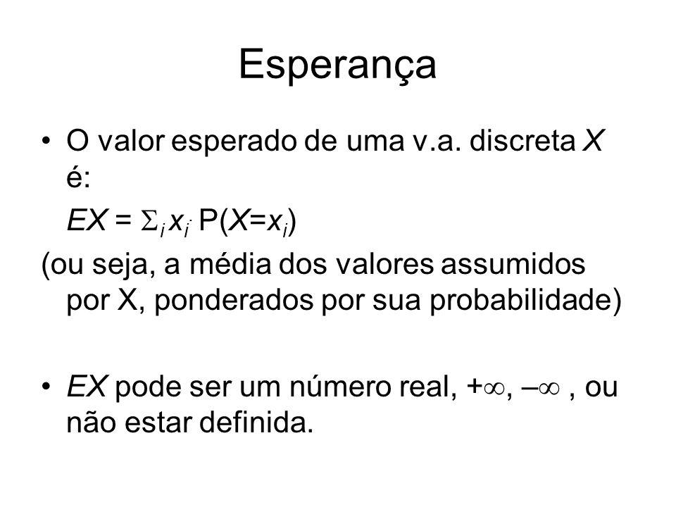 Esperança O valor esperado de uma v.a. discreta X é: EX = i x i. P(X=x i ) (ou seja, a média dos valores assumidos por X, ponderados por sua probabili