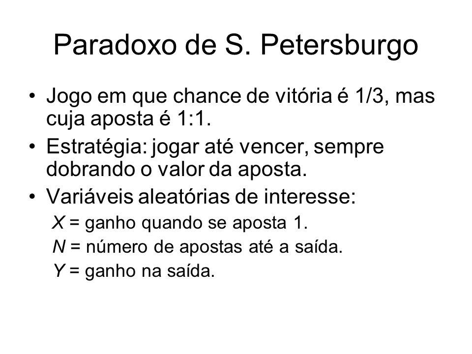 Paradoxo de S. Petersburgo Jogo em que chance de vitória é 1/3, mas cuja aposta é 1:1. Estratégia: jogar até vencer, sempre dobrando o valor da aposta
