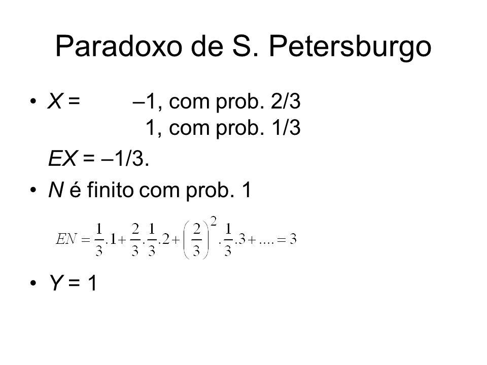 Paradoxo de S. Petersburgo X = –1, com prob. 2/3 1, com prob. 1/3 EX = –1/3. N é finito com prob. 1 Y = 1