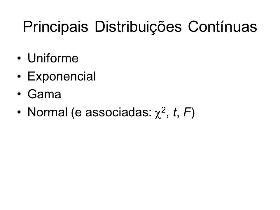 Principais Distribuições Contínuas Uniforme Exponencial Gama Normal (e associadas: 2, t, F)
