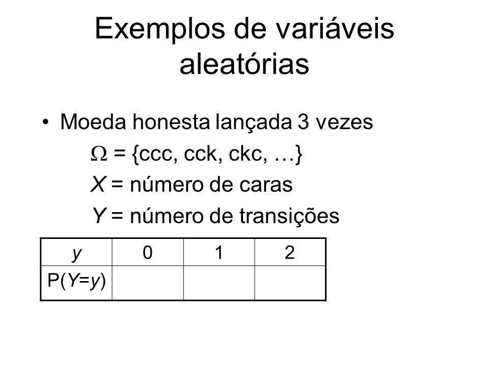 Covariância e Correlação Cov(X, Y) = E(X–EX)(Y–EY) = = E(XY) – EX EY (X, Y) = Cov(X,Y)/ (X) (Y) Teorema: –1 (X, Y) 1