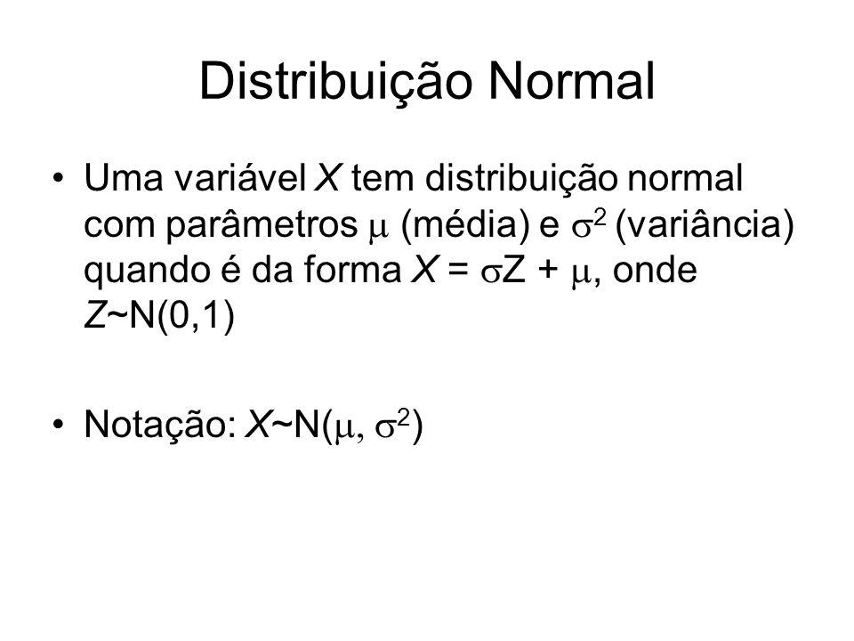 Distribuição Normal Uma variável X tem distribuição normal com parâmetros (média) e 2 (variância) quando é da forma X = Z +, onde Z~N(0,1) Notação: X~