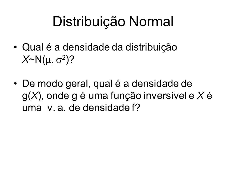 Distribuição Normal Qual é a densidade da distribuição X~N( 2 )? De modo geral, qual é a densidade de g(X), onde g é uma função inversível e X é uma v