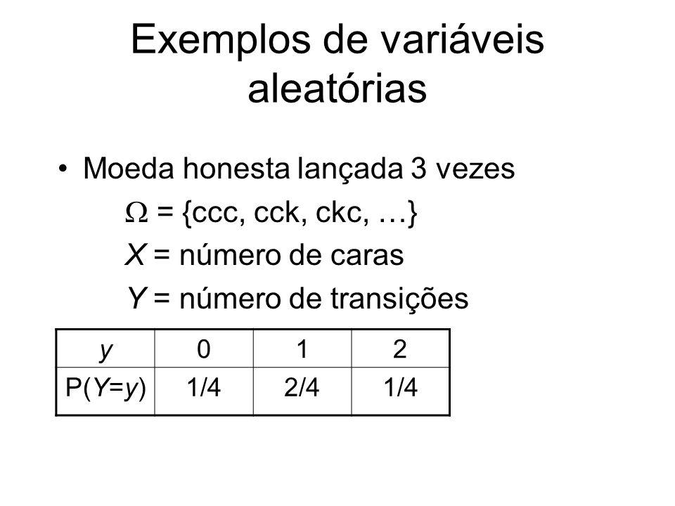 Exemplos de variáveis aleatórias Moeda honesta lançada 3 vezes = {ccc, cck, ckc, …} X = número de caras Y = número de transições y012 P(Y=y)1/42/41/4